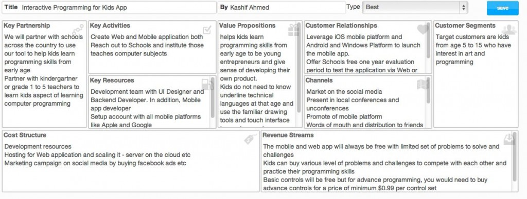KashifAhmed - Business Model Canvas - Kids Programming Idea